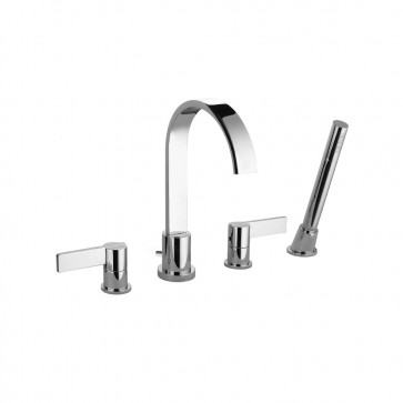 Isenberg 145.2400CP Series 145 4 Hole Deck Mounted Roman Tub Faucet With Hand Shower