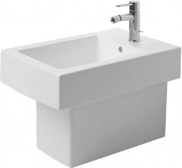 "Duravit 22401000001 Bidet Floor-standing 14 5/8"" with Overflow, Tap Platform and One Tap Hole from Vero Series"