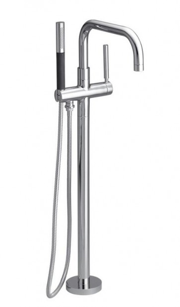 Kohler K-10129-4 Purist Floor Mounted Roman Tub Faucet Trim with Metal Lever Handle and Built-In Diverter - Includes Personal Hand Shower