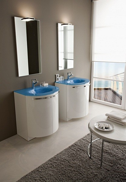 Acquaviva Vanity Integrated Glass Sink Blue Celeste