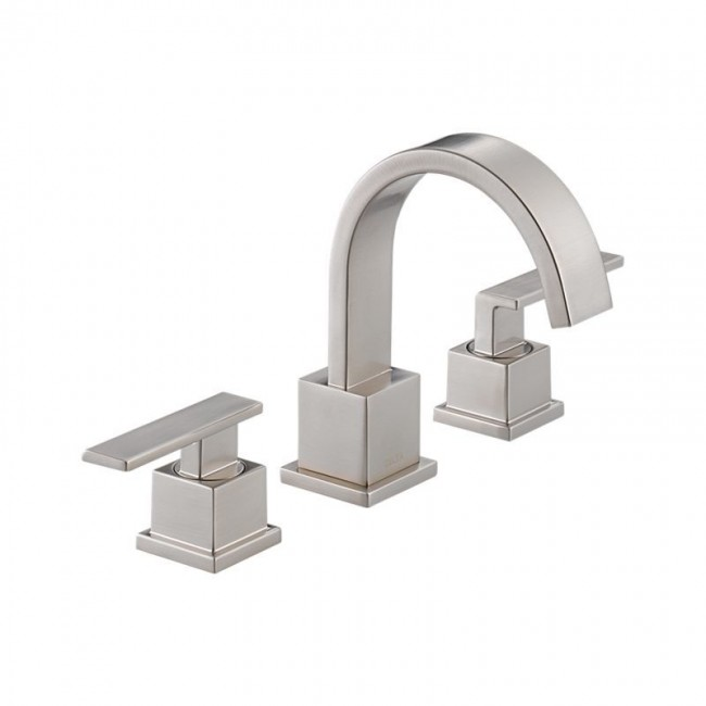 Delta 3553LF Vero Widespread Bathroom Faucet   Includes Metal Pop Up Drain