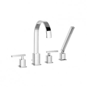 Isenberg 150.2400CP Series 150 4 Hole Deck Mounted Roman Tub Faucet With Hand Shower