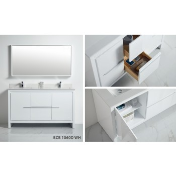 BNK BCB1060DWH Venice Includes Bathroom Vanity, Mirror and Top Full Set