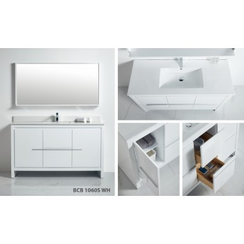 BNK BCB1060SWH Venice Includes Bathroom Vanity, Mirror and Top Full Set