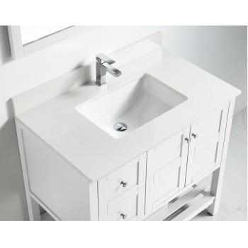 BNK BSU3622WH Austin White Stone Bathroom Vanity Top
