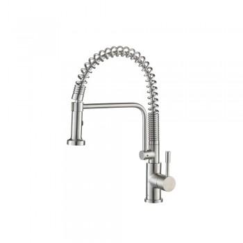Isenberg K.1200SS Kitchen Caso - Semi-Professional Dual Spray Stainless Steel Kitchen Faucet With Pull Out