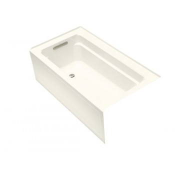 "Kohler K-1123-RA Archer Collection 60"" Three Wall Alcove Soaker Bath Tub with Armrests, Lumbar Support and Right Drain"