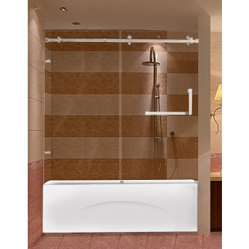 Frameless Shower Door for Bathtub with Stainless Steel Parts
